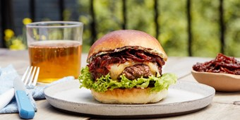 Steak Burger With Tangy Caramelized Onions and Tarragon Butter