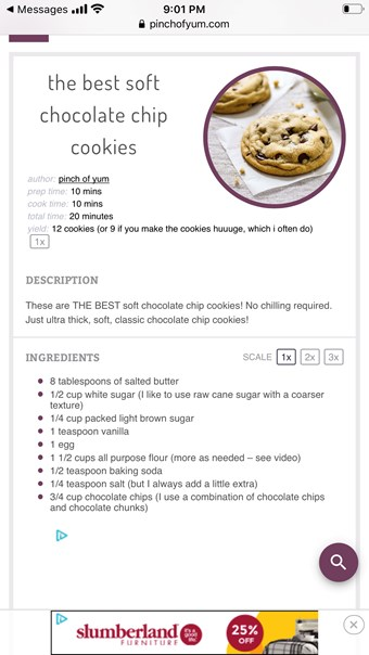 Kirstyn's chocolate chip cookies